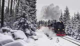 winter, railway, road, train, the engine