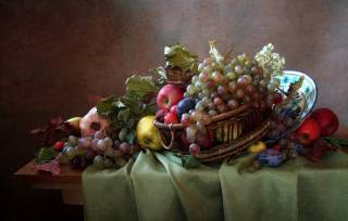 table, fabric, dish, basket, fruit, berries, leaves