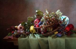 столик, ткань, блюдо, корзина, фрукты, ягоды, листья
