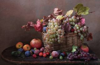 table, basket, fruit, berries, branch, leaves