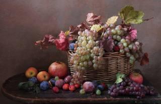 столик, корзина, фрукты, ягоды, ветка, листья