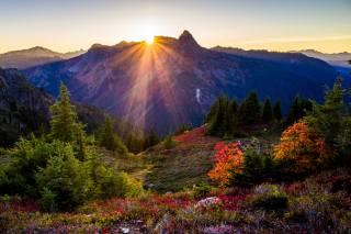 краєвид, захід, природа, сонячні промені