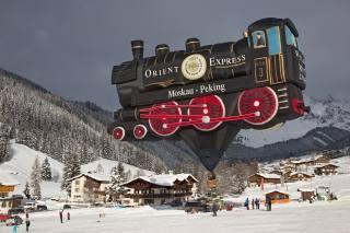 railway, balloon, Austria, mountains, winter, people