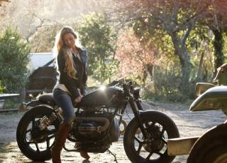 girl, long hair, motorcycle, bmw