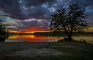 Швеция, рассвет, Река Небо, облака, природа
