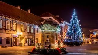 місто, ліхтарі, Загреб, ніч, Новий рік, вогні, площа, свято, вдома, ялинка, Хорватія