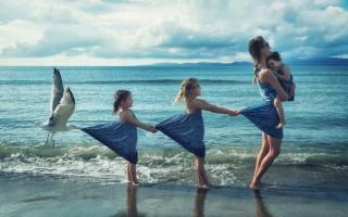 фото, море, діти, мати, чайка, креатив, тема, люди, ситуація
