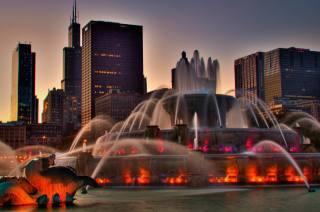 Чикаго, підсвічування, Іллінойс, вдома, місто, вечір, Фонтан, США