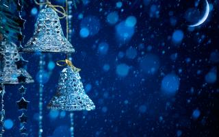 Christmas, Bells, the moon, Toys, snow
