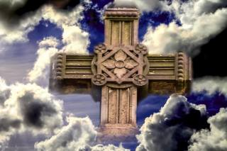 the sky, clouds, cross