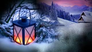 winter, snow, mountains, home, ate, branches, needles, lantern