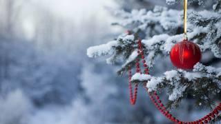 Новий рік, ялинка, сніг, кулька, намисто