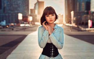 girl, model, photographer, Lods Franck, portrait, brown hair, street, view