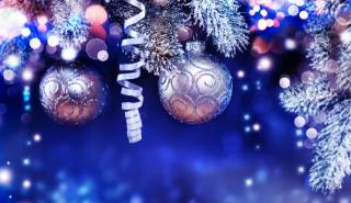 holiday, New year, Christmas, branches, spruce, tree, Toys, balls, serpentine