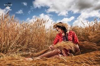 девушка, поле, колоски, фотограф, Олег Климин