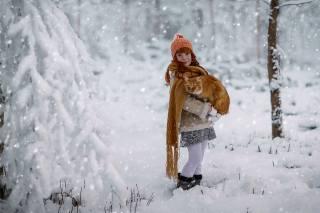 дівчинка, кіт, фотограф, Julia Voinich, зима, шарф, шапка