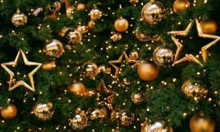 Шары, звёзды, украшения, елка, праздник