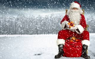 Santa Claus, coat, New year, bokeh, hat, Christmas, trees, boots, background, snow, Red, sitting, glasses, bag, photoshop, Santa Claus, snowflakes, winter, on the chair, holiday, beard, gifts
