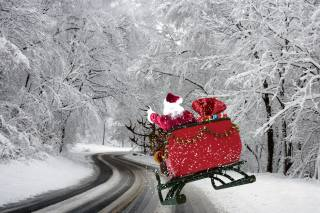 winter, trees, highway, snow, Santa Claus, Deer, gifts
