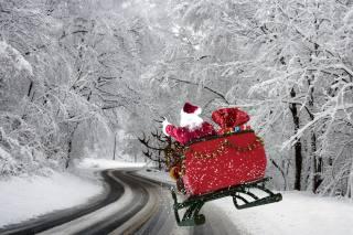 зима, деревья, шоссе, снег, дед мороз, Олени, подарки