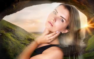 девушка, портрет, взгляд, поза, природа
