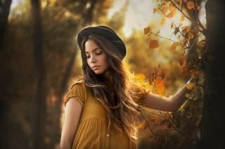 девушка, портрет, осень