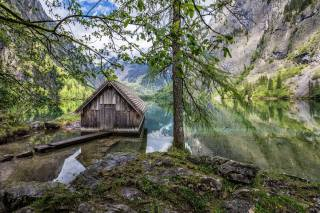 будиночок, озеро, гори, Баварія, Німеччина, баварія, Німеччина