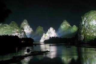 Китай, природа, краєвид, річка, Лицзян, гори, Гуйлинь, ніч, освітлення, підсвічування