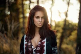 girl, model, marlen valderrama alvarez, portrait, photographer, Martin Kuhn, summer, forest, sunset