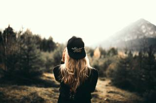 girl, cap, nature