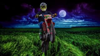 sports, motocross, motorcycle, athlete, motorcyclist, field, ears, night, the sky, clouds, planet, the moon, digital art