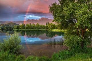 природа, лето, пейзаж, озеро, горы, отражение, радуга