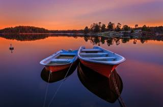sunset, forest, river, sweden, trees, the evening, boats