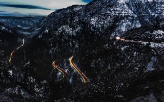 nature, mountains, winter, road, serpentine, evening