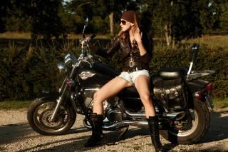 дівчина, мотоцикл, Хонда
