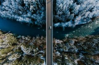 nature, winter, Forest, river, road, Car