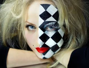 chess Board, face, blonde, makeup, eyelashes, view
