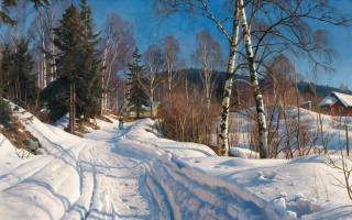 painting, picture, Петер Мерк Менстел, Peder Mork Monsted, nature, winter, snow, trees, the village, track