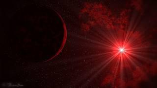 Планета и яркий свет звезды в космосе, в багровых тонах, шпалери для робочого столу
