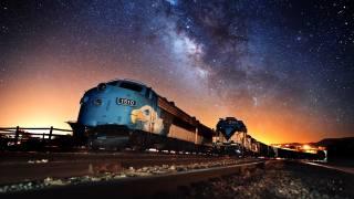 поезда, рельсы, ночь, небо