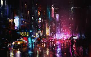 ніч, місто, фарби, арт