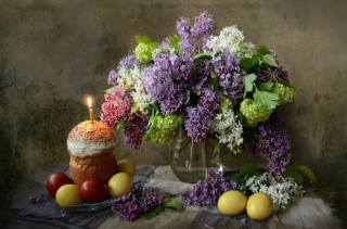 branches, lilac, Candle, Easter, EGGS, Easter, holiday