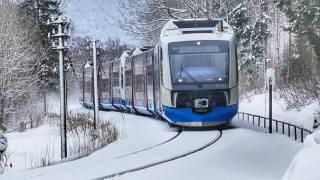 поезд, состав, пути, снег, зима, Композиция