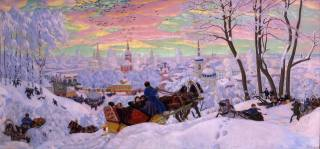 picture, winter, Борис Кустодиев, carnival, holiday, the temple, painting