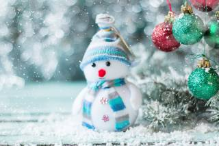 holiday, New year, Christmas, snow, snowman