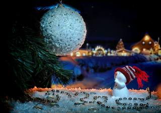 holiday, New year, Christmas, tree, figure, snowman, decoration, snow, decoration, Toys, beads, ball