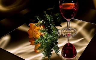 bathroom, table, still life, greens, flower, rose, Fougeres, wine, red, reflection, Love, romance