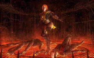 Скорпион, огонь, фэнтези, арт
