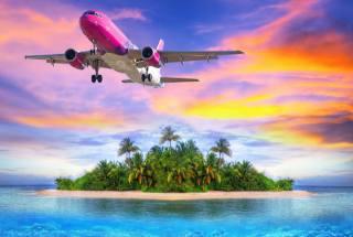 самолет, океан, остров