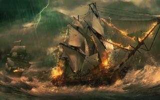 море, парусники, бой
